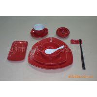 特色宾馆餐厅用瓷,酒店瓷,炻瓷盘,大红色釉餐具套装