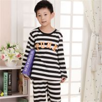 春秋季可爱韩版PINK字母男女长袖儿童纯棉睡衣休闲套装童家居服