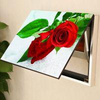 现代家居电表箱装饰画遮挡客厅电闸无框冰晶液压上翻式挂画