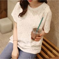 2015韩版大码女装短袖雪纺衫中长款蕾丝打底衫蕾丝衫t恤