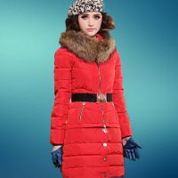 【可脱卸】2014新款女装平湖羽绒服女款中长款 大毛领厂家直供