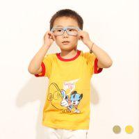 韩版童装批发 夏季新款儿童纯棉打底衫 短袖T恤卡通鼠滑板Z0.4