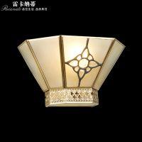雷卡纳蒂欧式全铜灯欧式简约全铜焊锡灯美式田园室内壁灯中式玻璃焊锡客厅卫生间壁灯