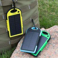 供应【太阳能移动电源】5000毫安户外防水太阳能移动电源带手电筒