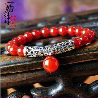 特价 纯天然巴西红玛瑙手链 时尚名族风女士转运珠手链小饰品