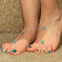 韩国时尚绿松石链条脚链 可爱版 淘宝爆款一件代发 批发