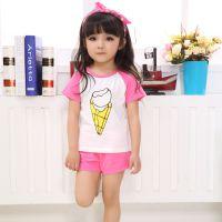 巴贝琪2015新款上市夏季时尚韩版童装家居服男童女童短袖可爱宝宝内衣儿童睡衣套装B5108
