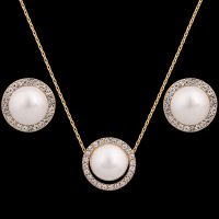 P   珍珠首饰套装项链 耳环热卖圆形混批批发 镶钻民族风