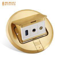 圆形全铜防水VGA弱电模块地插 梅兰地插座