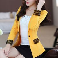 2016秋季新款大码女装 时尚韩版拼接修身显瘦长袖小西服外套潮