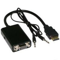 hdmi to vga转接线凸头 支持1080P hdmi转vga带音频 配音频线