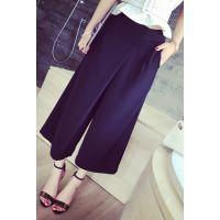 小银子2015夏装新款设计款不规则垂坠显瘦休闲阔腿裤女K5148
