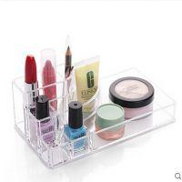 定制透明亚克力化妆盒 桌面化妆品收纳盒 塑料化妆盒口红展示架子
