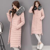 冬季新款女装韩版时尚修身连帽长款棉衣可拆卸环保狐狸毛领W11N86