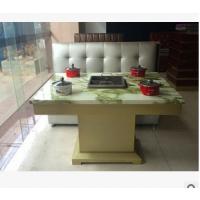 火锅桌定制 地中海优质大理石火锅烧烤一体桌 四人位火锅餐桌