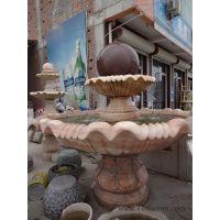 风水球 石雕 能旋转 喷泉流水 晚霞红石材 曲阳雕塑厂家直销 现货批发