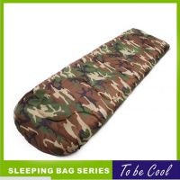户外信封睡袋 单层200克每平方 中空棉 军绿迷彩色涤纶面料