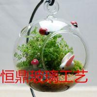 厂家直供 微景观 挂件 玻璃 创意多肉花瓶 礼品挂件 铁艺配饰