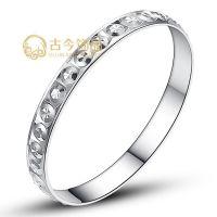J025#银戒指 S925银 尾戒 首饰 手饰 电镀铂金 防氧化 钻石花银戒