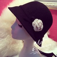 韩国原单白色花朵数字5大檐帽 手作花朵蝴蝶结圆顶澳洲羊毛呢礼帽
