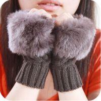 手套批发 冬季保暖半指手工针织毛线菠萝皮草仿兔毛键盘手套 8149