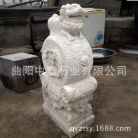 【河北曲阳】汉白玉青石门墩、仿古石雕门鼓石、辟邪用品狮子