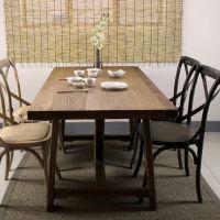 欧式家具复古做旧酒店纯实木餐桌 全木简易时尚家用客厅餐台定制