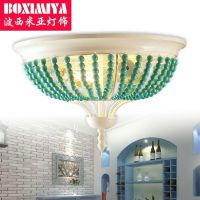 波西米亚绿松石灯饰 田园地中海吸顶灯卧室法式 美式乡村创意灯具