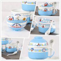 色釉陶瓷 创意 卡通泡面杯碗 带陶瓷汤勺 柄的便当盒饭盒面杯盖碗
