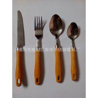 厂家直销不锈钢餐具套装 彩色塑料柄 刀叉勺4件套 西餐塑料柄餐具