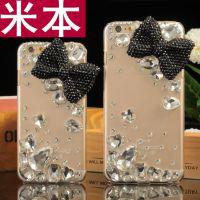 新款iPhone6 plus手机壳 苹果6/5镶钻大蝴蝶结水晶手机透明保护壳