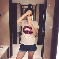 jto 2015夏季新品打底衫欧美范个性亮片性感红唇短袖T恤女040710