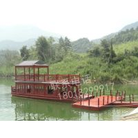 湖北湖南定做大型餐饮娱乐船画舫木船公园景点船 中式观光游船电动客船