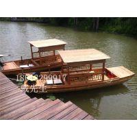 观光木船浙江安吉景区旅游船农家乐餐饮船公园手划船景点客船