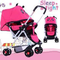 宇龙华仔萌车卡通熊猫双向婴儿推车可坐可躺八轮带刹车童车
