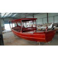 供应庆荣木业QR-GG008 高低篷木船 仿古旅游船 观光船 乌篷船 中式木船