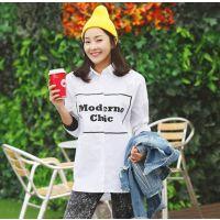 2015春季韩版英文字母中长款衬衫长袖衬衣女 U107