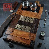 神雕 特大号实木檀木茶盘整块功夫茶具茶海套装电磁炉三合一茶台