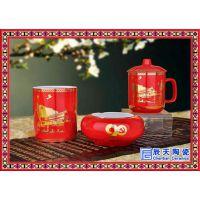 景德镇陶瓷茶杯 青花瓷杯子 茶叶罐 过滤办公杯烟灰缸瓷器三件套
