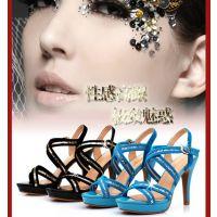 2013夏季新款韩国夜店亮片性感高跟鞋细跟防水台女式凉鞋夏季女鞋