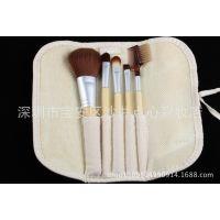 5支化妆刷天然竹子柄 绑带麻布刷包 电商热卖 现货批发 热销款
