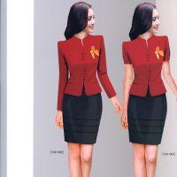 新款夏装时尚短袖套装修身版小西服套装套裙设计厂家定做