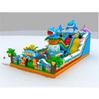 广场孩子玩的充气城堡都用的什么材料做的?120平方大鲨鱼主题的充气滑梯哪里有卖的?