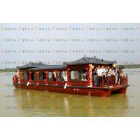 供应木船直销12米仿古画舫,精雕细凿,品质一流!单层画舫可定做