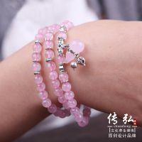 厂家直销 天然粉水晶手链 925银多层饰品手串 淘宝热销葫芦手链