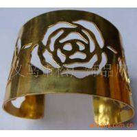 金色铁片手镯 金属铁皮开口手镯 铁片玫瑰花手镯 韩式镂空手饰