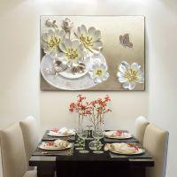 餐厅画花卉玄关壁画挂画现代立体浮雕卧室电表箱遮挡画客厅装饰画