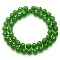 正品 天然玉石菠菜绿8-10mm玉珠项链 碧玉女款圆珠项链有黑点附证