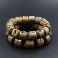 纯天然绿檀香木佛珠手链正品精雕桶珠刻字手串念珠手链一件代发