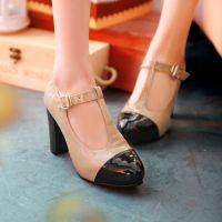 春季新品 韩国复古优雅拼色漆皮T带搭扣粗跟高跟鞋低帮女单鞋大码